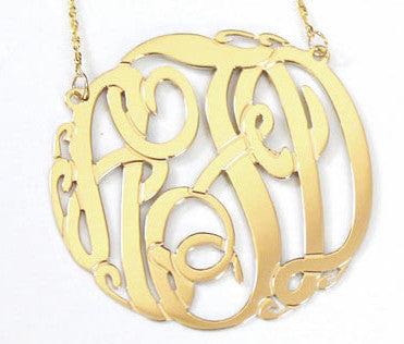 14K Gold Monogram Necklace  rope chain