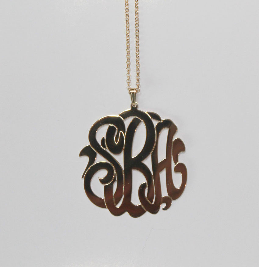 gold 3 initial monogram necklace - 2 inch