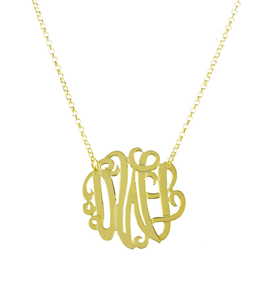 Gold Monogram Necklace - Bella Scroll Font 2
