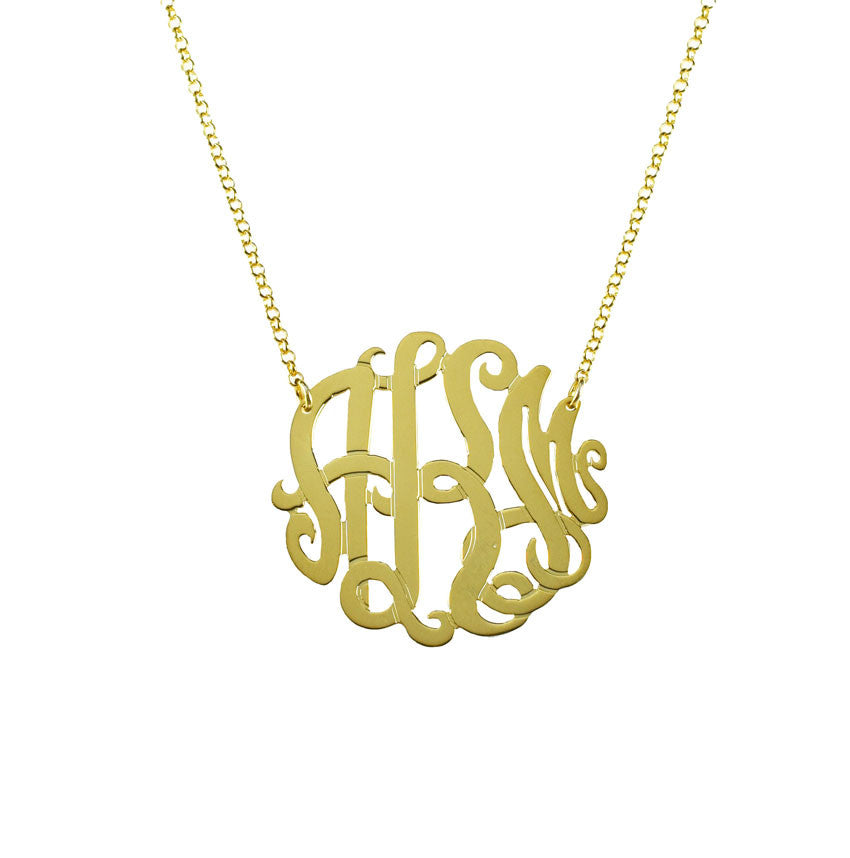 Gold Monogram Necklace - Bella Scroll Font