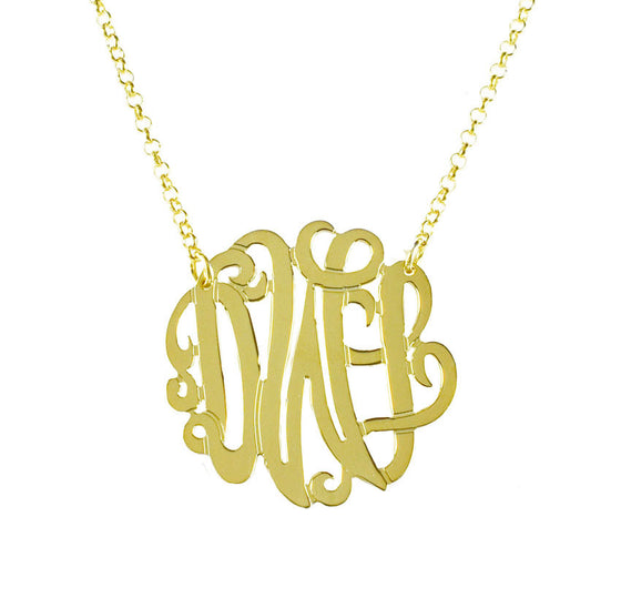 Gold Monogram Necklace - Bella Scroll Font 9