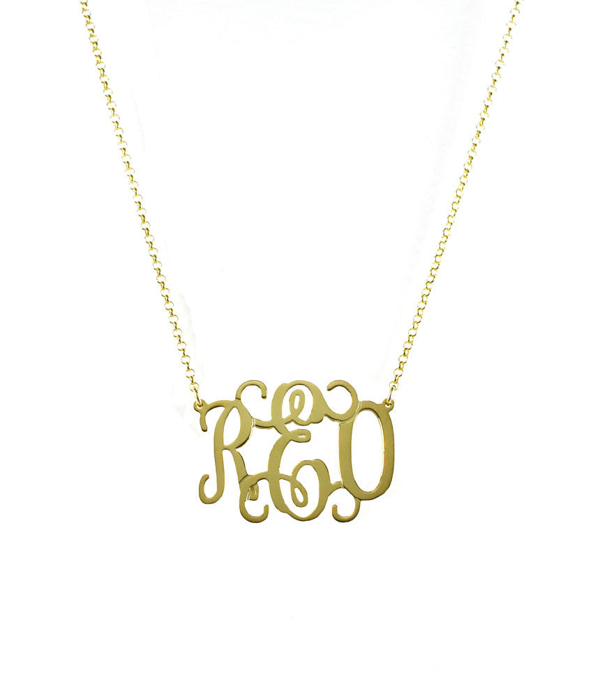 Oval Vine Script Monogram Necklace