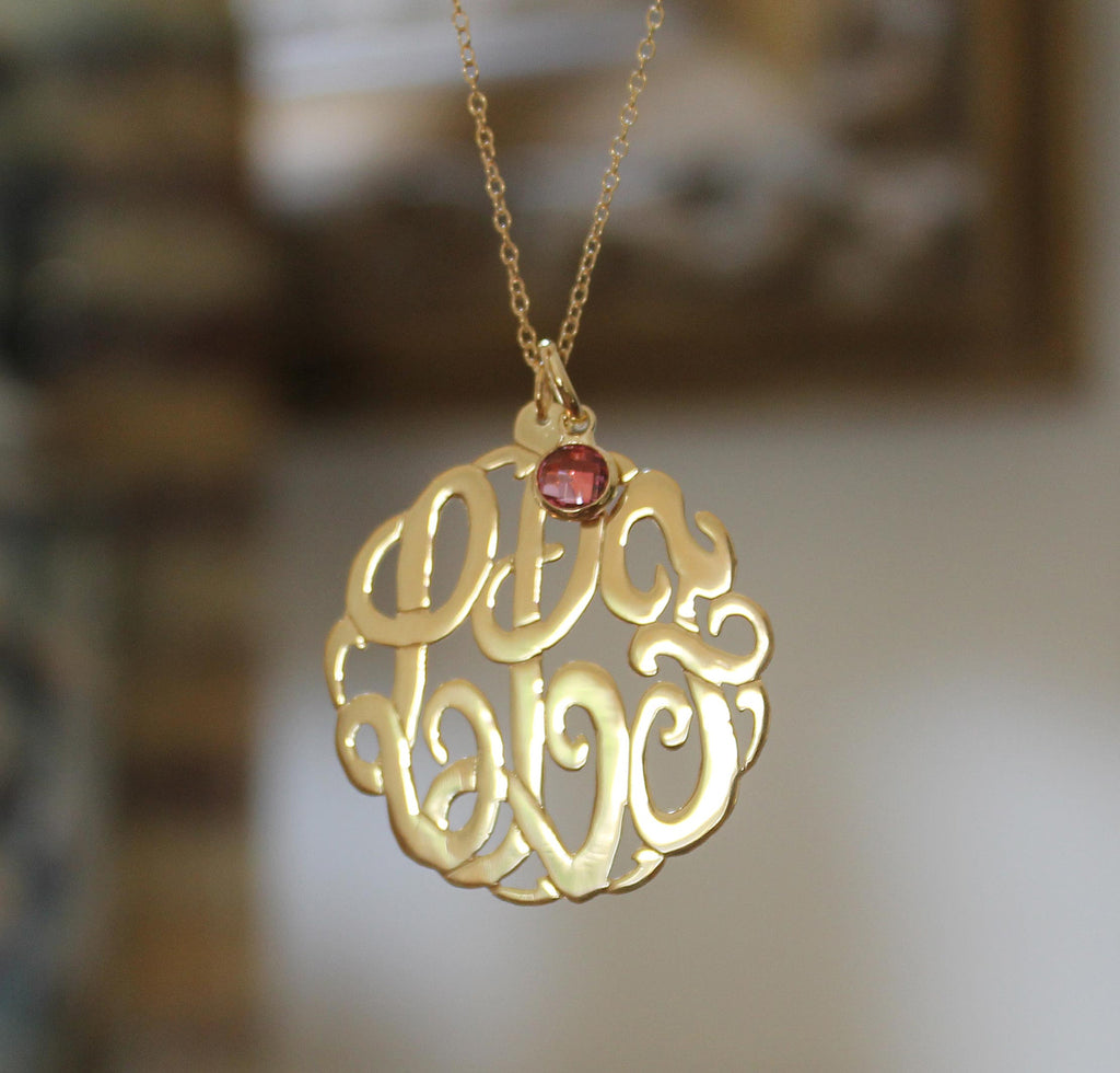 1 1/4 inch gold monogram necklace with birthstone