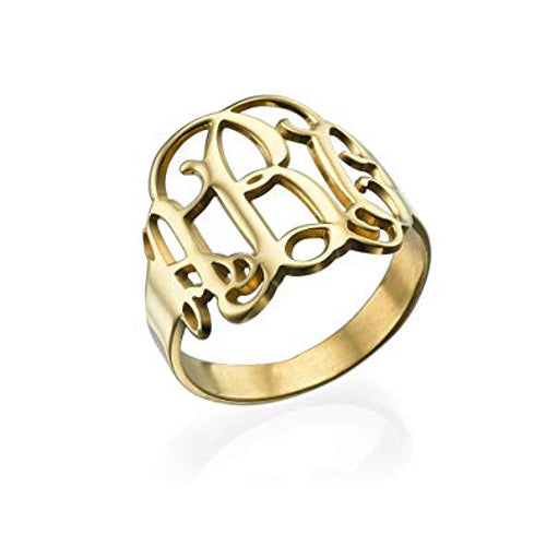Sterling Silver Cutout Monogram Ring 4