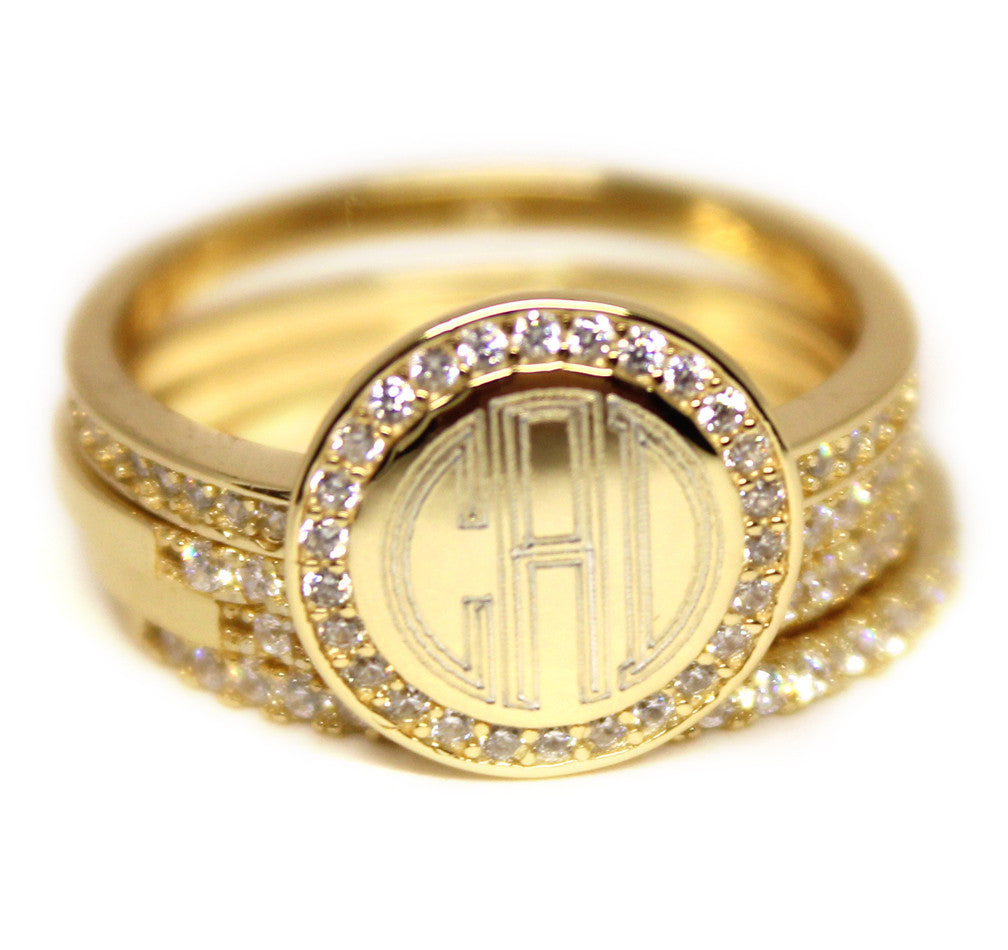 CZ Rimmed Monogram Stacking Ring