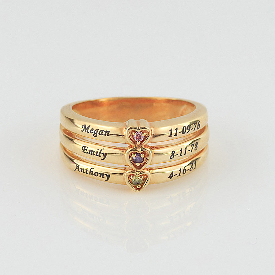 Engraved Mothers Ring with Birthstones