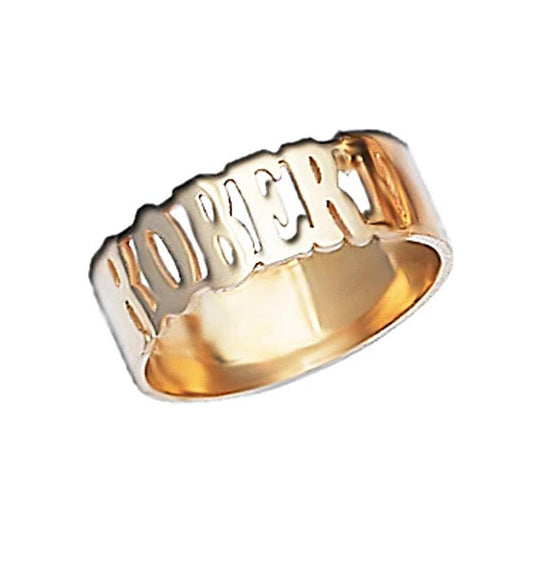 Gold Band Name Ring