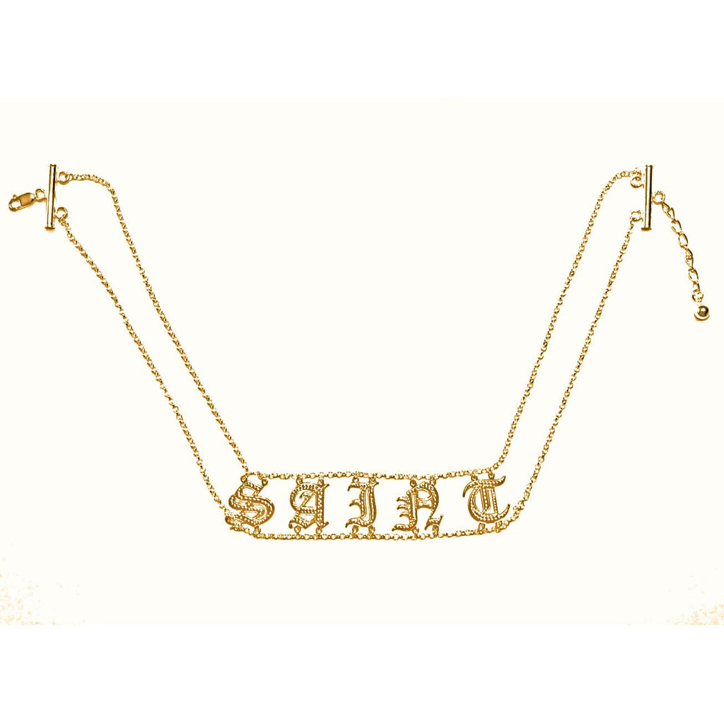gold name choker necklace