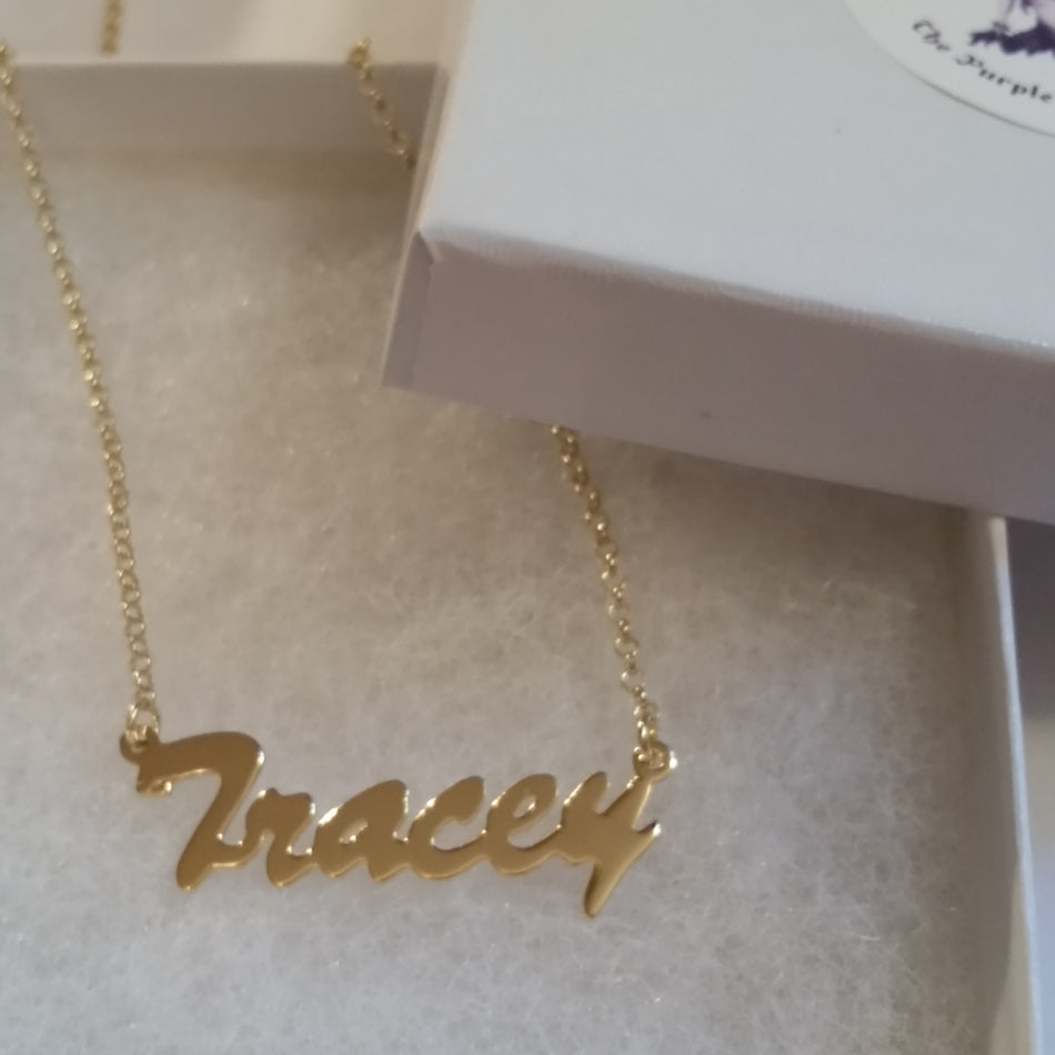 14K Gold Vermeil Name Plate Necklace Kylie Jenner Be Monogrammed
