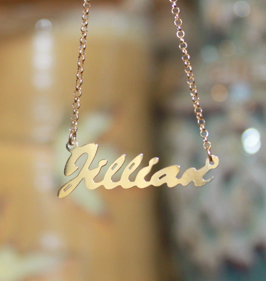 14K Gold Vermeil Name Plate Necklace 6
