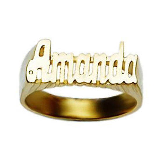 10K Gold Medium Script Name Ring