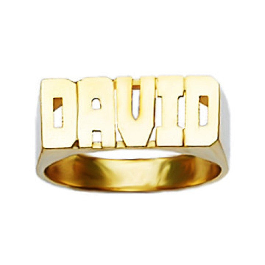 10K Gold Medium Block Name Ring