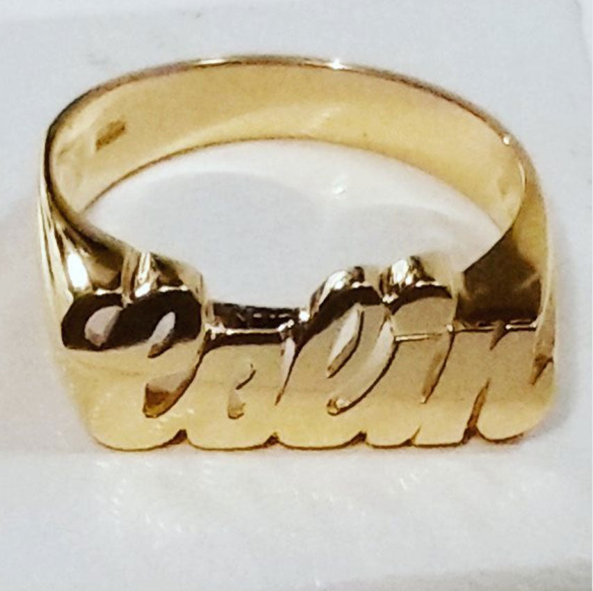 14K Gold Name Ring - Medium 2