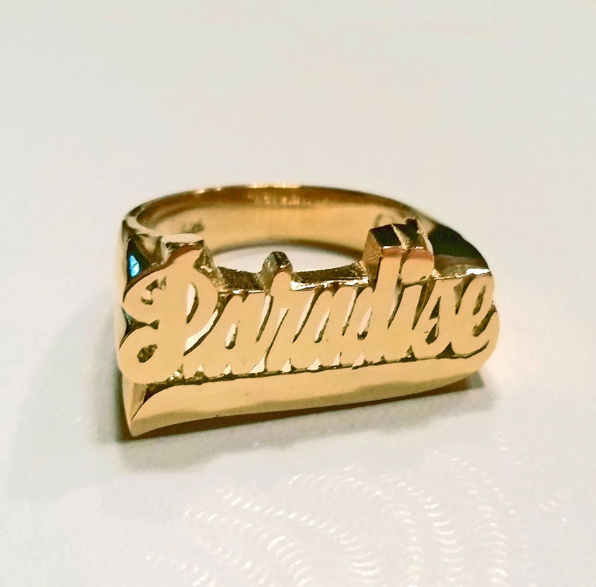 14K Gold Large Script Name Ring with Tail 6