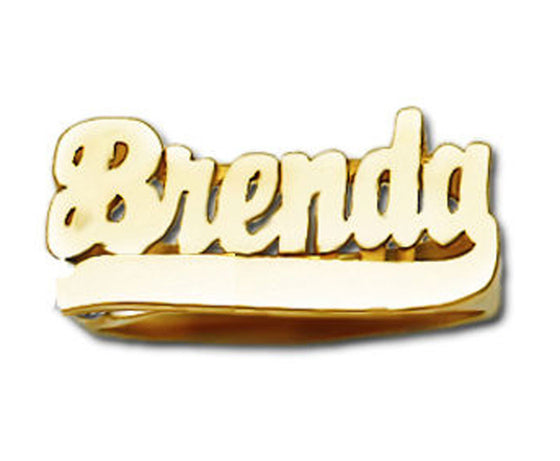 14K solid gold name ring with tail