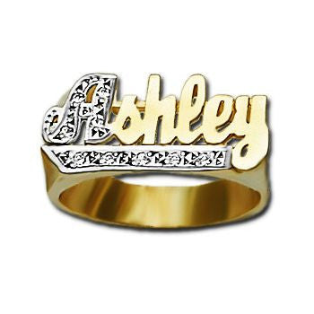 Gold Name Ring with Diamonds - 10mm