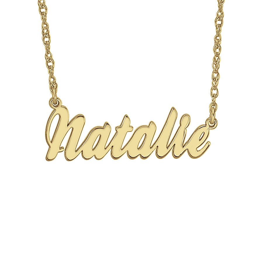 Cursive Nameplate Necklace Gold