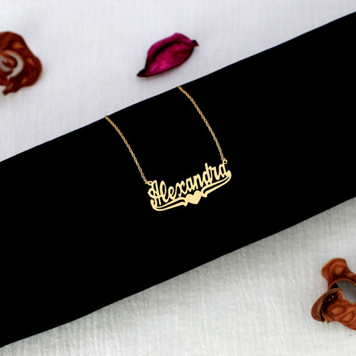 gold nameplate necklace with heart