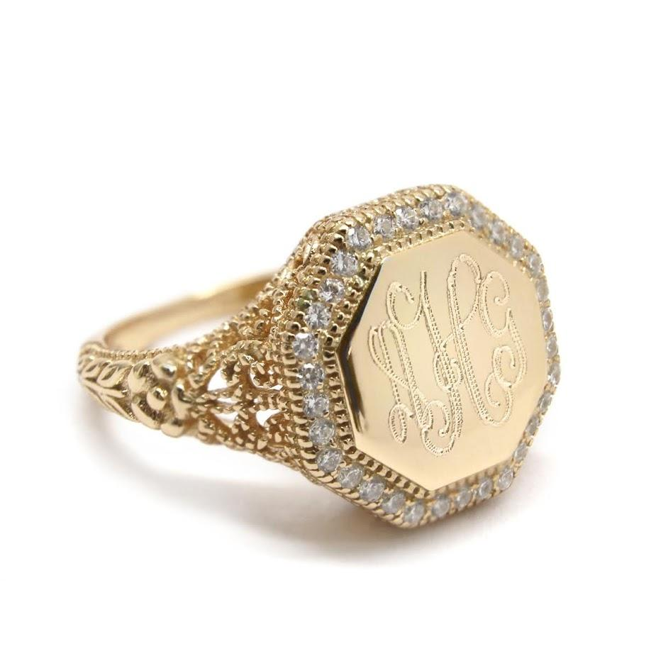 Gold Octagon CZ Filigree Monogram Ring