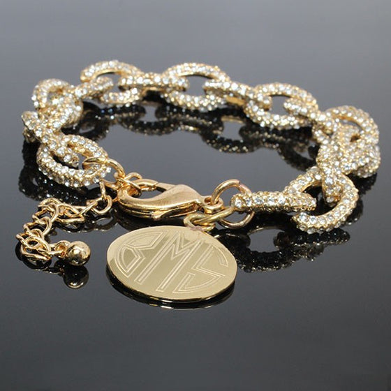 CZ Pave Link Bracelet with Engraved Disc