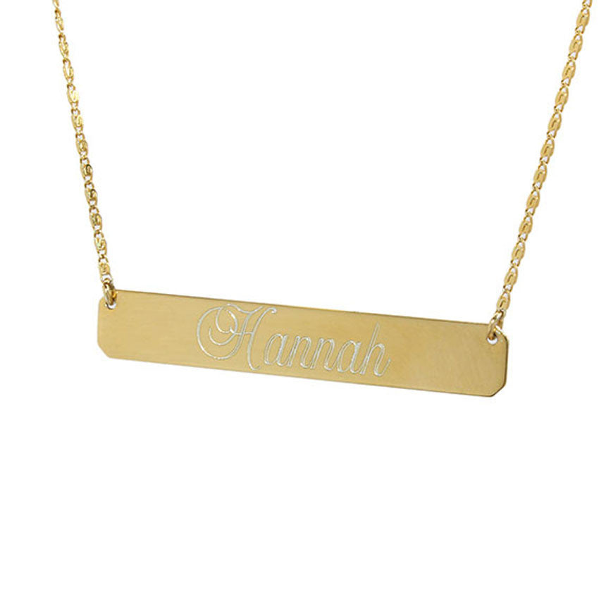 engraved gold plated bar necklace