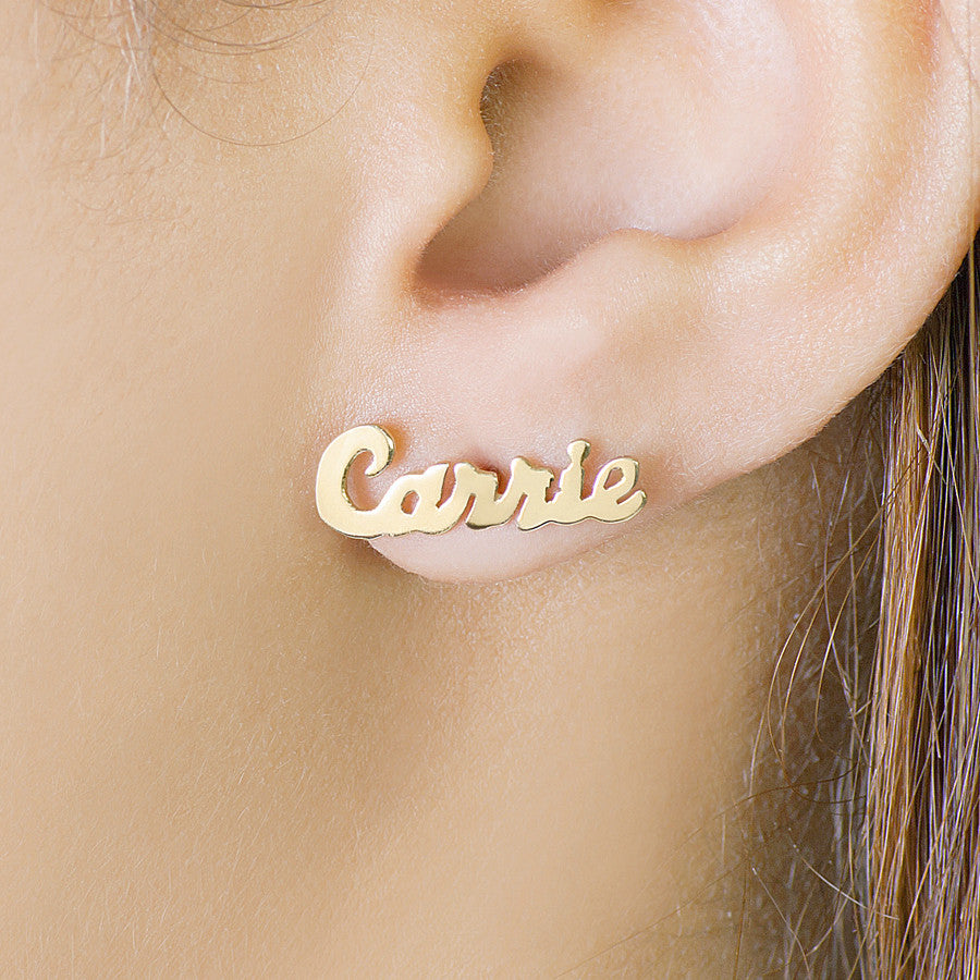 Personalized Name Earrings - Carrie Style