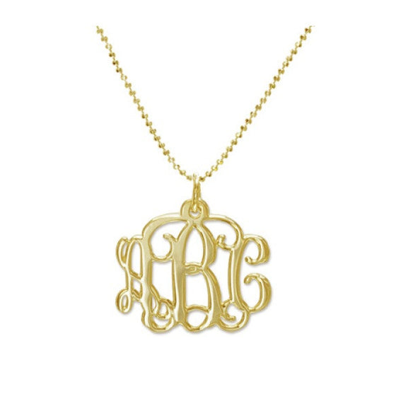 Gold Vine Script Mini Monogram Necklace