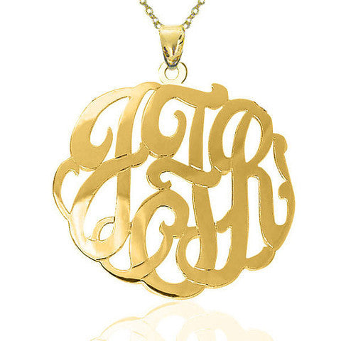 Sterling Silver Fancy Script Monogram Necklace