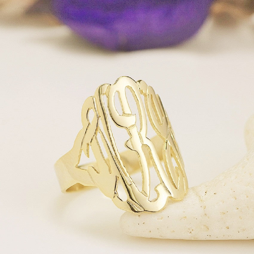 Tall Cutout Monogram Ring