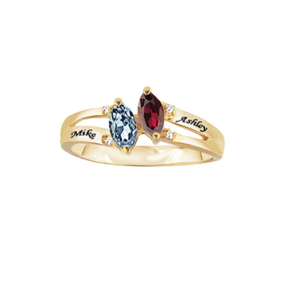 Personalized Promise Ring - Marquis Birthstones