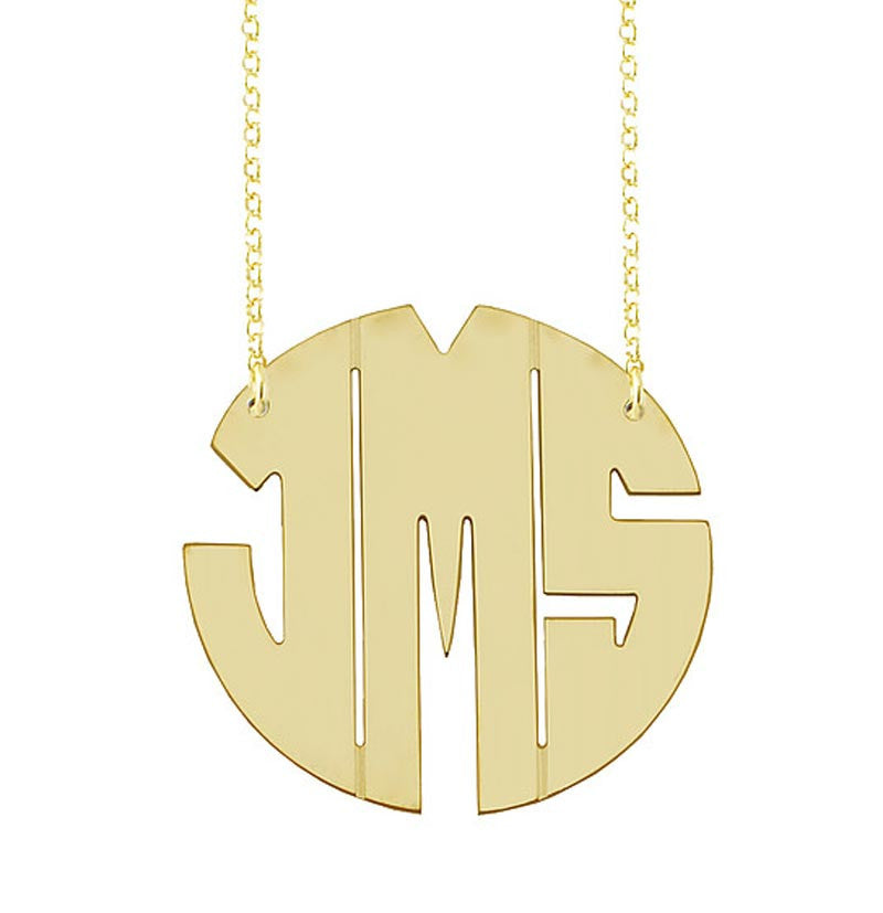 Gold Vermeil Round Cutout Monogram Necklace 4