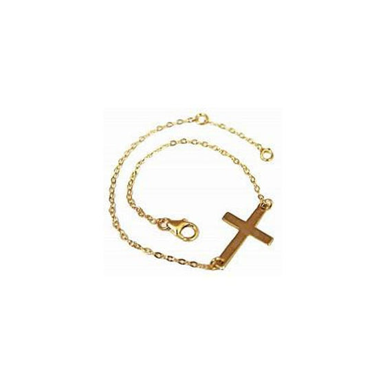 Gold Filled Sideways Cross Bracelet