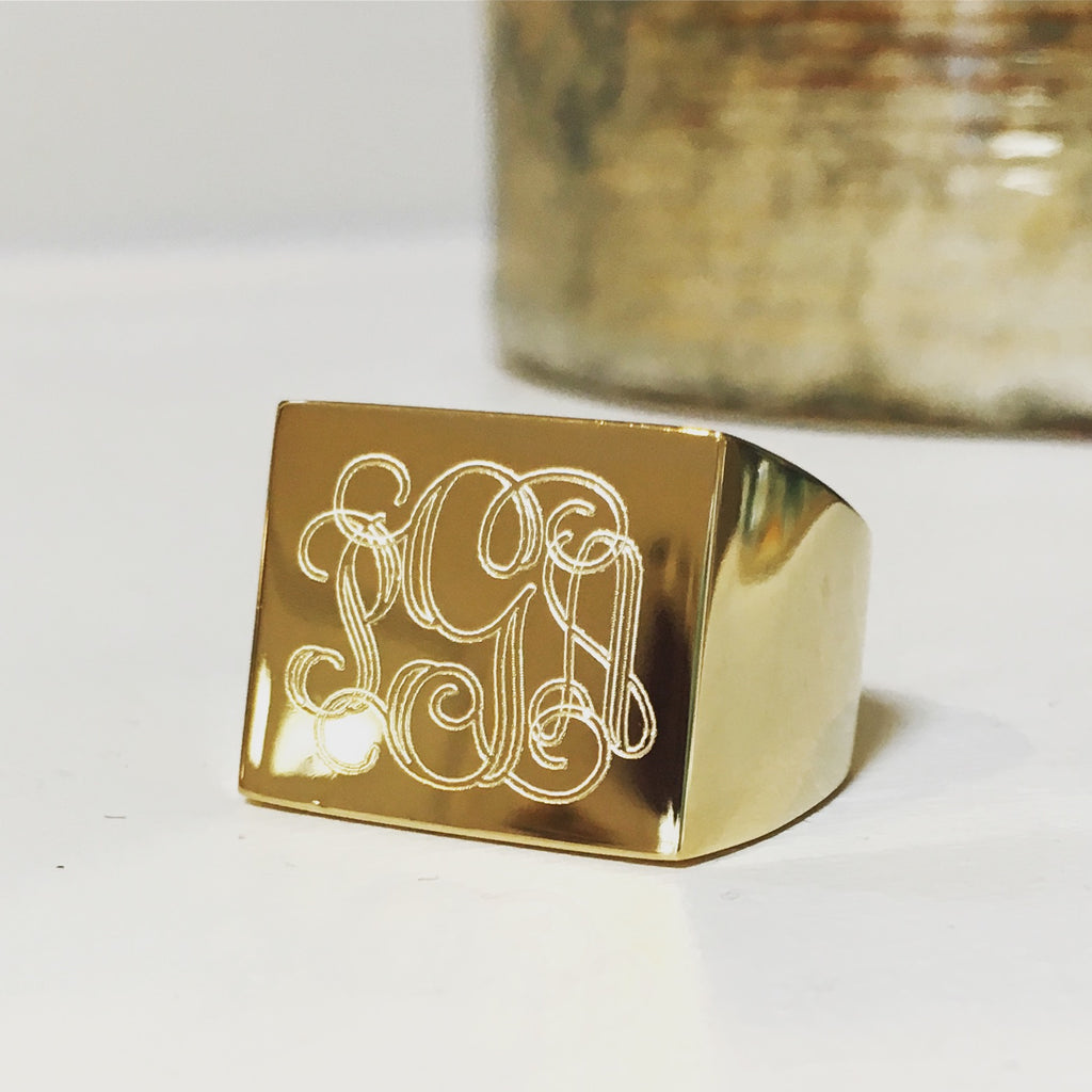 Monogram Rectangle Signet Ring 3