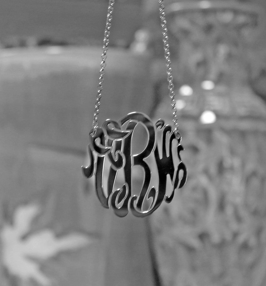 Medium Sterling Silver Monogram Necklace