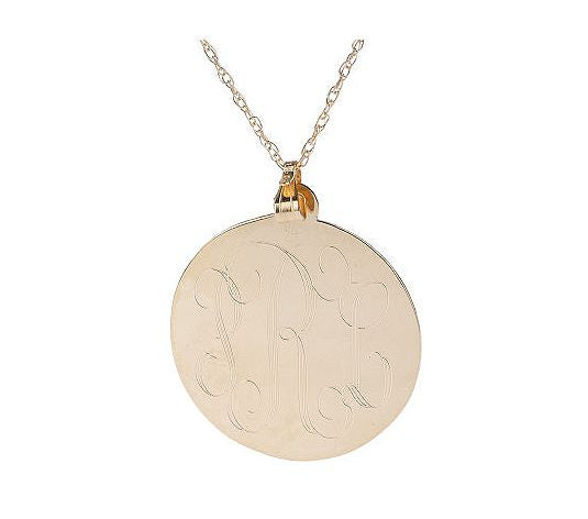 Gold Engraved Disc Monogram Necklace