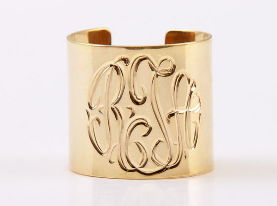 Gold Monogrammed Cuff Ring
