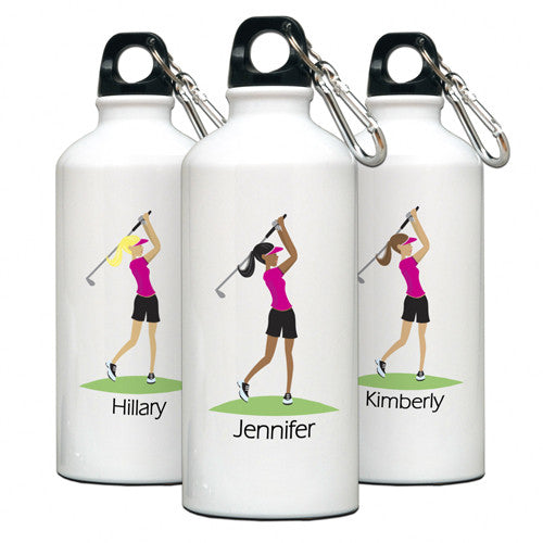 Personalized Water Bottle Golfer Gal