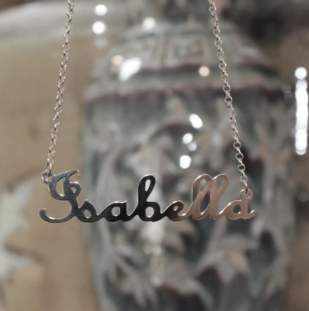 cursive gothic style nameplate necklace