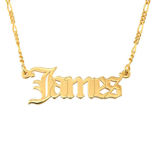Gothic Name Necklace on Figaro Chain