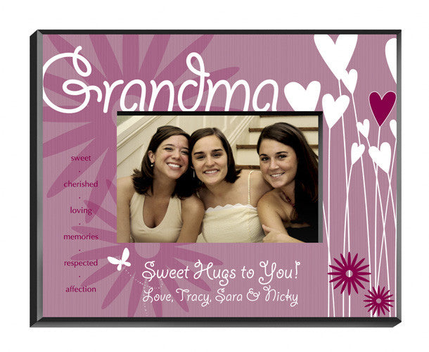 Personalized Grandma Hearts Flowers Picture Frame