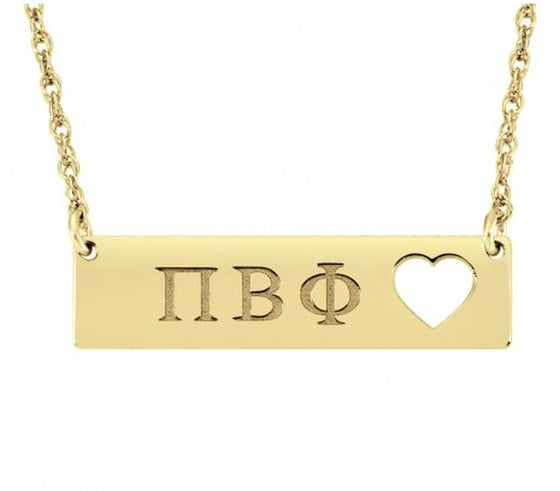 Greek Sorority Bar Necklace - Cutout Heart