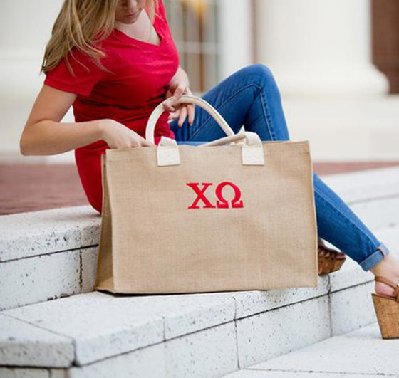 Greek Sorority Burlap Tote Bag