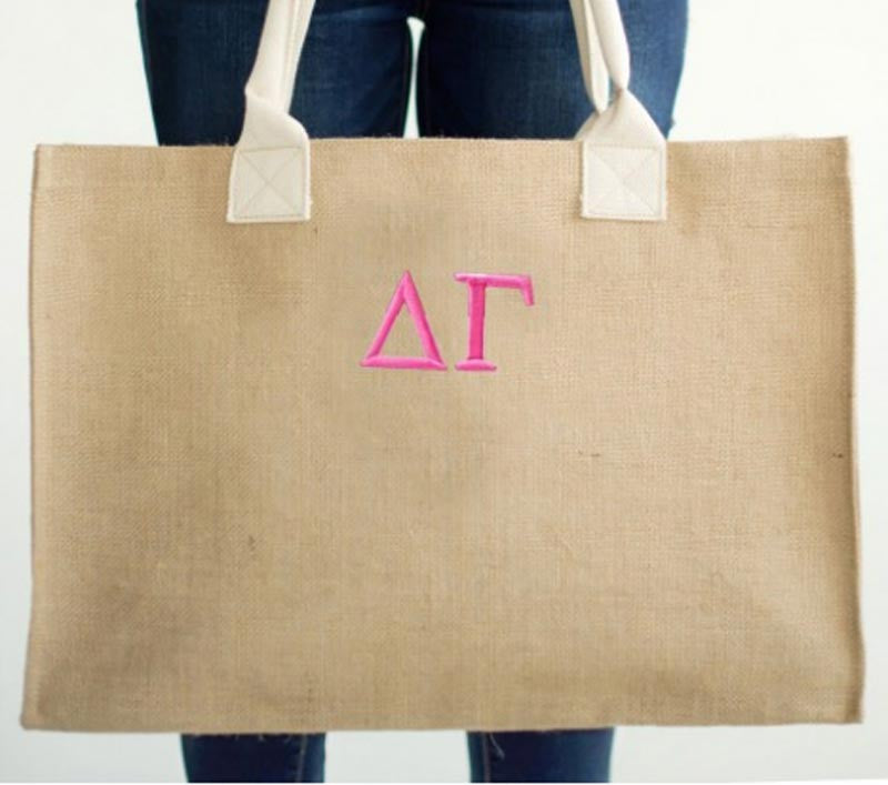 Greek Sorority Burlap Tote Bag 2