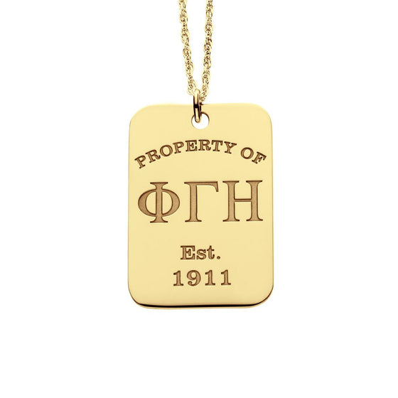Greek Sorority Dog Tag Necklace