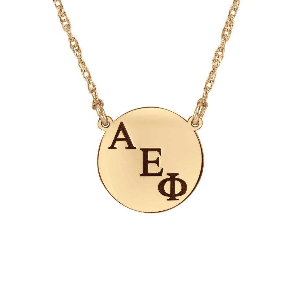 Small Round Greek Sorority Necklace - Rose Gold