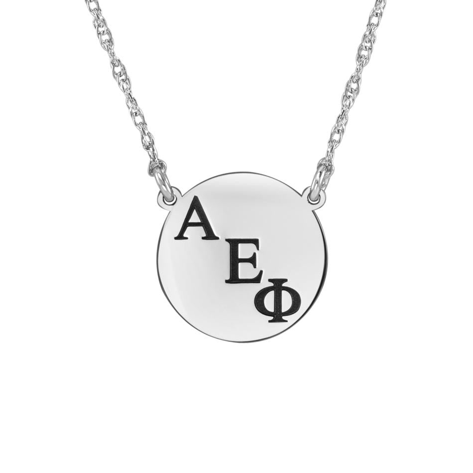 Small Round Greek Sorority Necklace - Silver