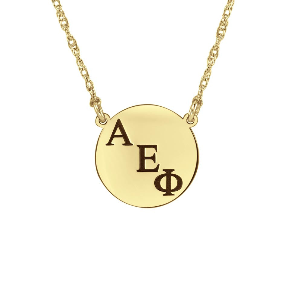 Small Round Greek Sorority Necklace - Gold