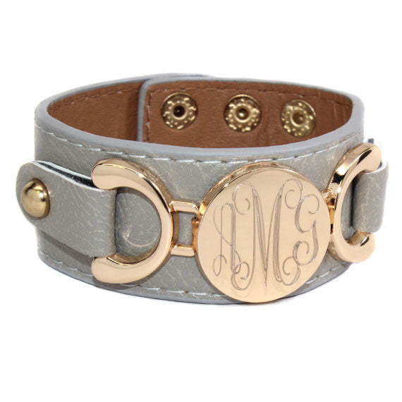 monogram leather cuff bracelet grey