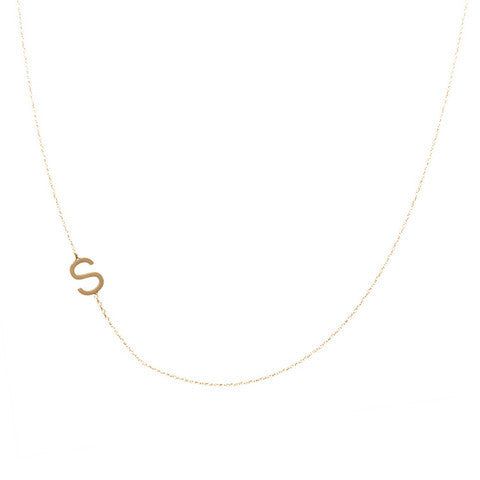 single block initial sideways necklace