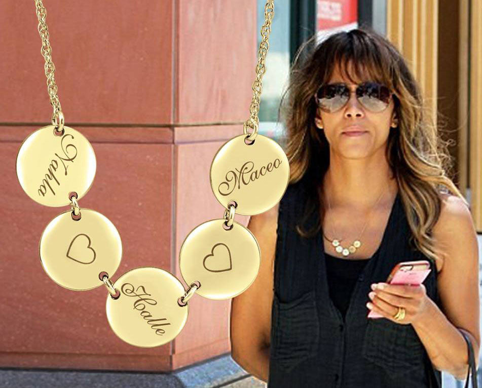 halle berry family disc necklace